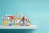 Aromatic Perfume bottles on wooden table on blurred background - 220999823
