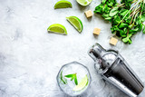 making mojito on stone background top view - 221000236