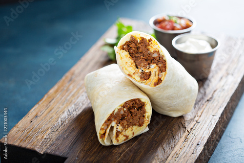 Breakfast burrito with chorizo and egg