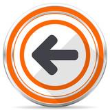 Left arrow silver metallic chrome round web icon on white background with shadow - 221003874