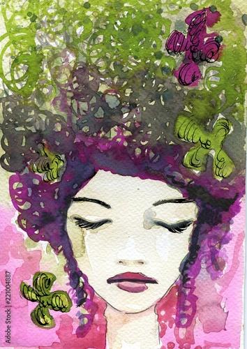 akwarela-ilustracja-przedstawiajaca-portret-kobiety-fantazyjne