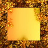 Beautiful autumn background with leaves and frame. 3d illustration, 3d rendering.