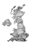 Hand drawn map of United Kingdom painted with pencils. Black and white illustration isolated on white background. - 221009010
