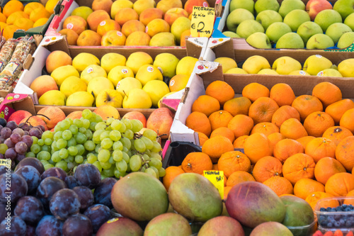 Fruits on the grocery market in Venice, Italy