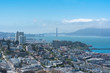 San Francisco, the Embarcadero with the Marina District, Russian Hill, and the Golden Gate Bridge in background, panorama