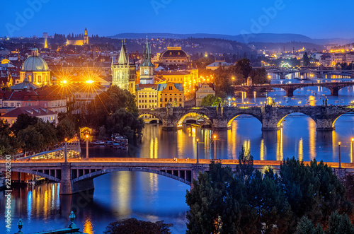 Prague city, bridges over Vltava river, Czech Republic