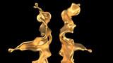 Luxury golden splash of liquid. 3d illustration, 3d rendering.