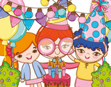 Girl on party cartoons - 221032443