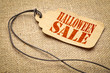 Halloween sale text on a price tag