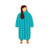 Standing girl in a long fashion coat. Vector hand drawn illustration. - 221033648