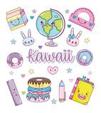 Set of kawaii cartoons