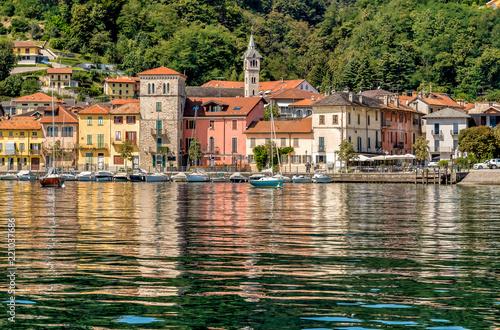 View of historic village Pella on the western shore of Lake Orta, province of Novara, Italy