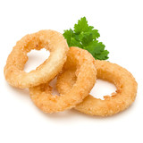Crispy deep fried onion or Calamari ring isolated on white background - 221037867