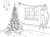 Living room graphic black white interior sketch illustration vector. Children decorating the room and Christmas tree - 221068075