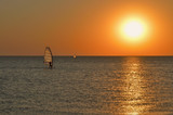 the silhouette of a windsurfer on a board under a sail moves along a calm water surface at sunset over the sea, horizon - 221072248