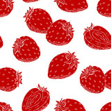 Strawberry graphic berry red color seamless pattern sketch illustration vector - 221072800