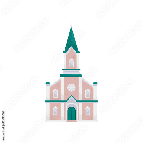 Christian Protestant Church Building Vector Illustration On A White