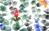 Watercolor vector background with green eucalyptus and exotic flowers. - 221077022