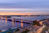 St. Petersburg from the roof, the Palace Bridge and the Neva River - 221082408
