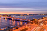 St. Petersburg from the roof, the Palace Bridge and the Neva River - 221082452