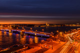 St. Petersburg from the roof, the Palace Bridge and the Neva River - 221082643