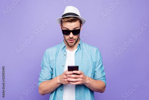 Leinwandbild Motiv Bearded trendy stylish shocked guy wearing casual shirt, black s