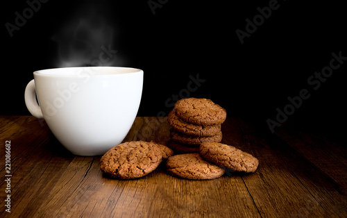 Sticker Homemade Chocolate Cookies Eat with hot Coffee on wooden background