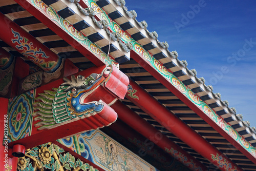 chinese dragon head decoration on the chinese architecture on the