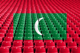 Maldives flag stadium seats. Sports competition concept. - 221094297