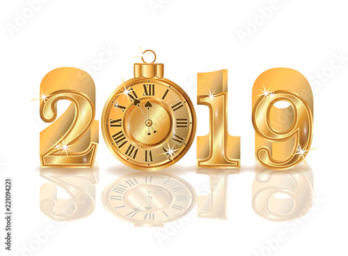 New 2019 golden year with clock, vector illustration