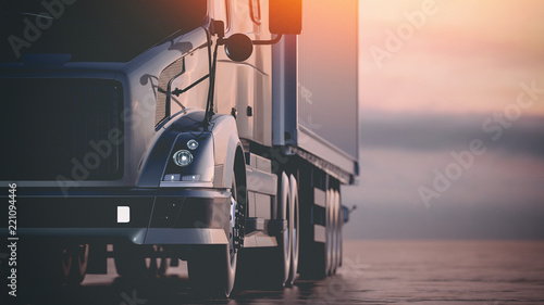 The truck runs on the highway. 3d render and illustration. - 221094446