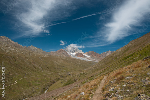 alpine valley with high mountains and glacier in the background