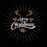 Merry Christmas, happy new year, logo & symbol design, vector illustration.