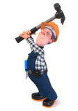 3d illustration Builder worker in overalls with hammer - 221110220