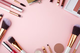 Fashion Makeup Cosmetic accessories on pink background. Top view. Flat lay. - 221111875