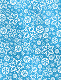 Blue glossy Christmas background with white snowflakes and stars,  vector illustration - 221118468