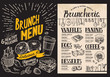 Brunch restaurant menu on blackboard background. Vector food flyer for bar and cafe. Design template with vintage hand-drawn illustrations. - 221119450