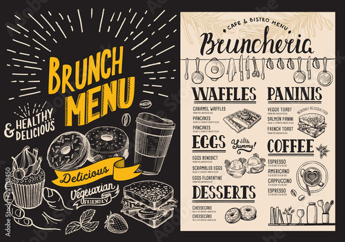 Fototapeta Brunch restaurant menu on blackboard background. Vector food flyer for bar and cafe. Design template with vintage hand-drawn illustrations.