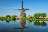 Windmills at Kinderdijk in Holland. Netherlands - 221124429