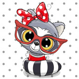 Cute Cartoon Raccoon with red glasses
