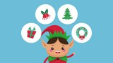 Cute elf and christmas round icons cartoon high definition animation colorful scenes - 221135299