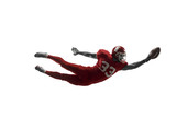 Active one american football player isolated on white background. Fit caucasian man in uniform jumping over studio background in jump or motion. Human emotions and facial expressions concept - 221137651