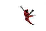 Active one american football player isolated on white background. Fit caucasian man in uniform jumping over studio background in jump or motion. Human emotions and facial expressions concept - 221137688