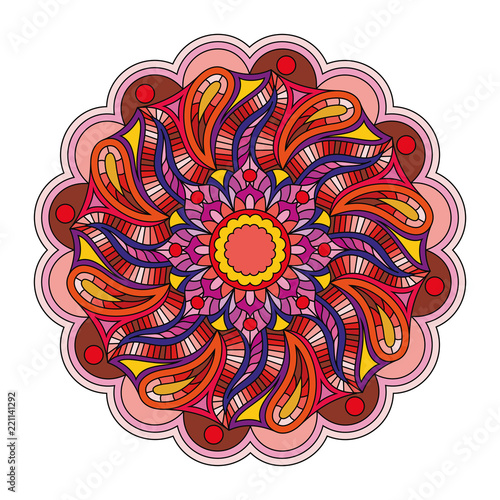Vector oriental ornament Mandala. Multicolored pattern isolated on white background.