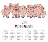 calendar with the company of cheerful pink pigs