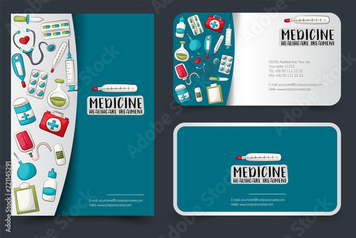 Fototapeta Medicine And Healthcare Flyer And Business Cards Set Background For Advertisement Invitation Brochure Template Hand Drawn Cartoon Style