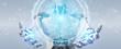White cyborg using digital eye surveillance hologram 3D rendering