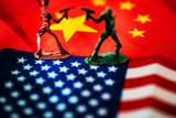 China-US trade war concept - Military Battle on China and American Flags - 221154694