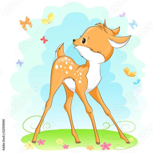 Fototapeta Cute baby deer. Hand drawn vector cartoon illustration.