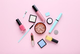 Makeup cosmetics on pink background - 221159644